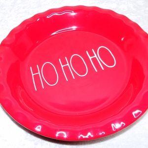 Rae Dunn Christmas Holiday Pie Plate HO HO HO Red